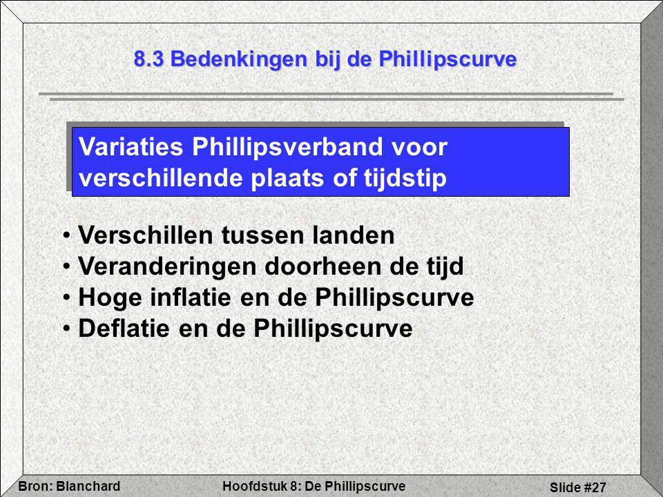 Hoofdstuk 8: De PhillipscurveBron: Blanchard Slide #27 8.3 Bedenkingen bij de Phillipscurve Verschillen tussen landen Veranderingen doorheen de tijd H