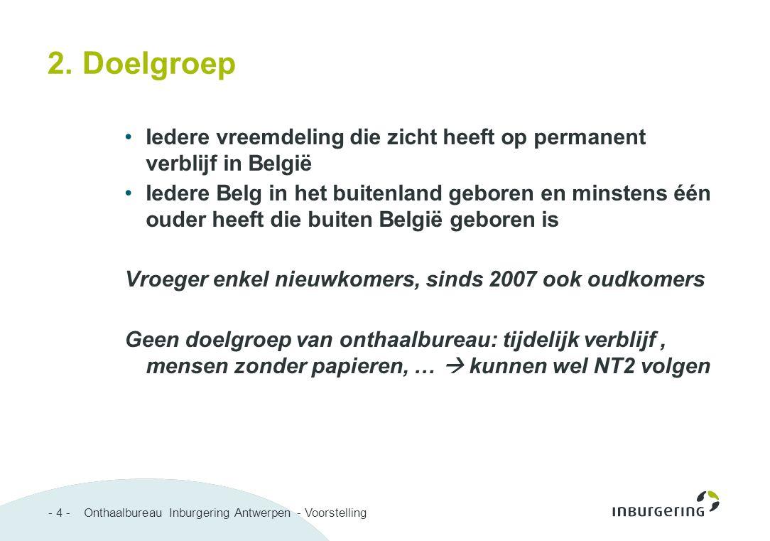 - 4 - Onthaalbureau Inburgering Antwerpen - Voorstelling 2. Doelgroep Iedere vreemdeling die zicht heeft op permanent verblijf in België Iedere Belg i