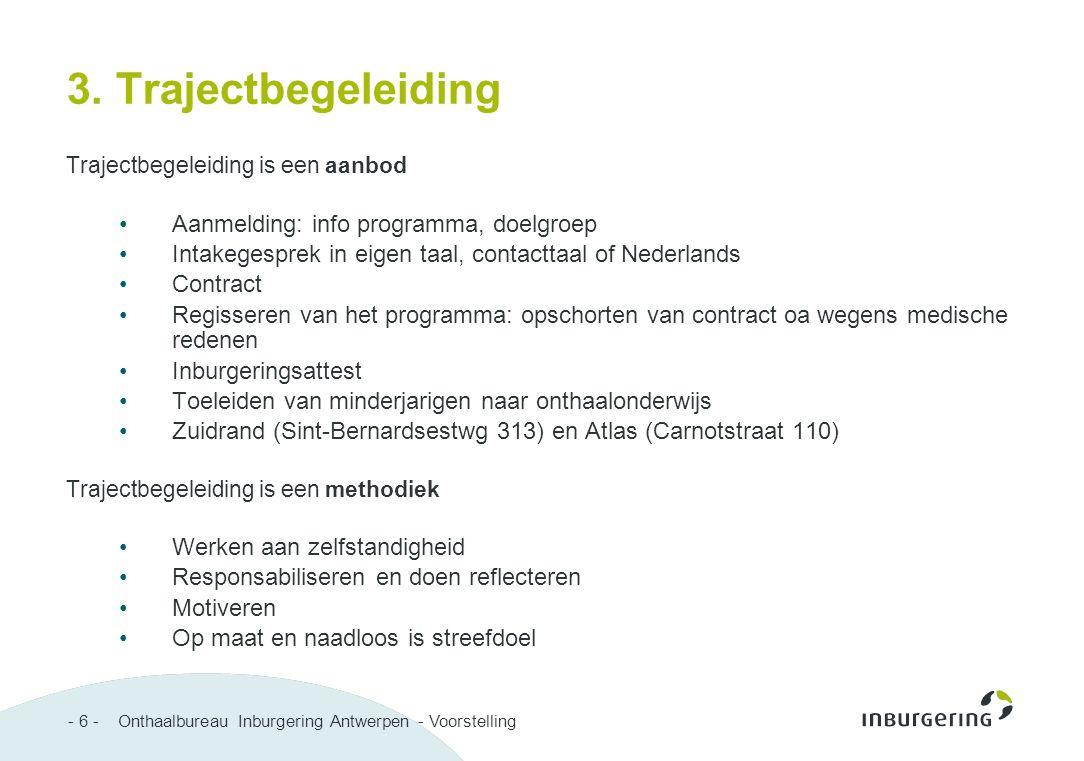 - 6 - Onthaalbureau Inburgering Antwerpen - Voorstelling 3. Trajectbegeleiding Trajectbegeleiding is een aanbod Aanmelding: info programma, doelgroep