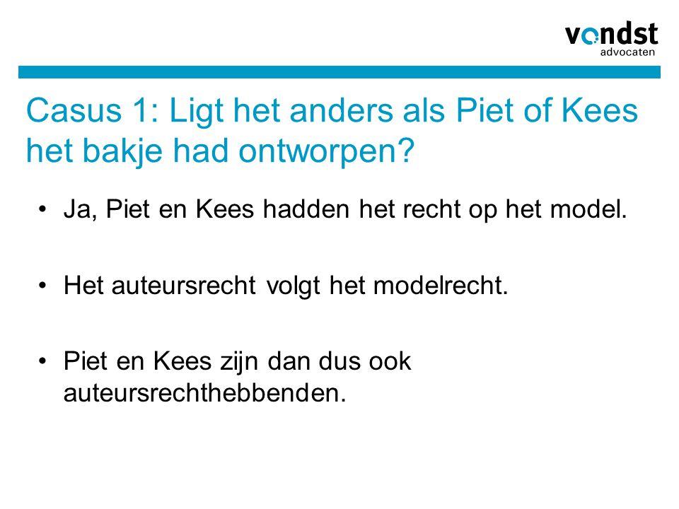 Casus 1: Ligt het anders als Piet of Kees het bakje had ontworpen? Ja, Piet en Kees hadden het recht op het model. Het auteursrecht volgt het modelrec
