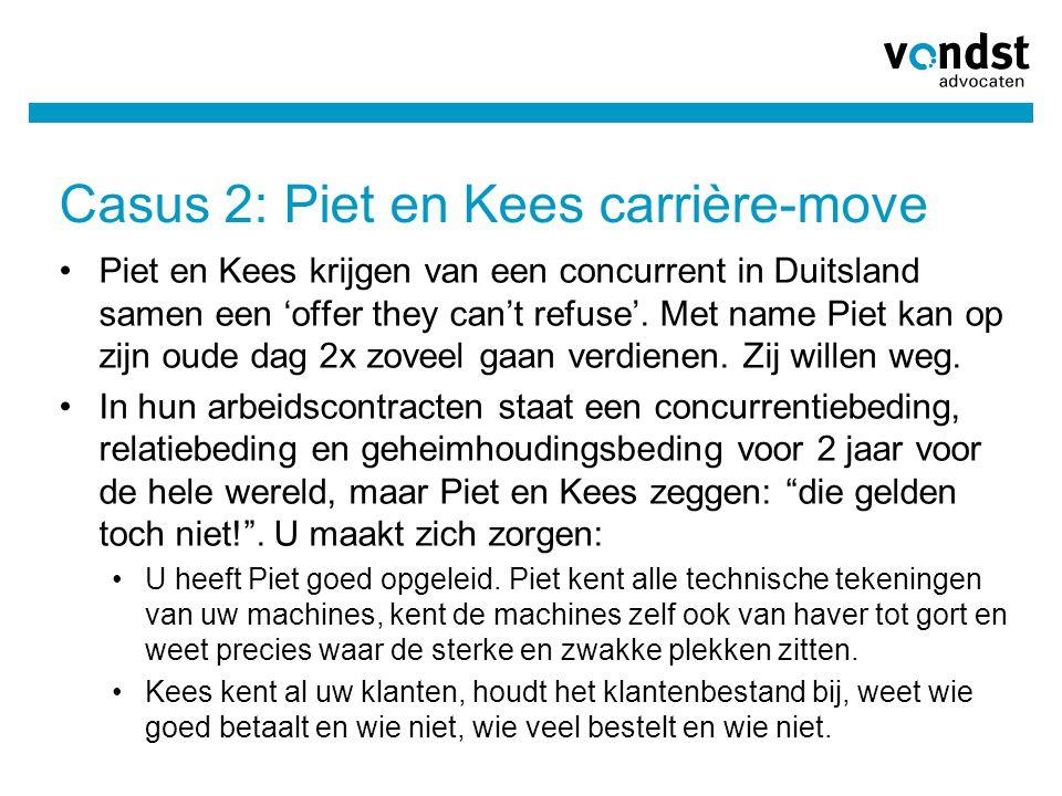 Casus 2: Piet en Kees carrière-move Piet en Kees krijgen van een concurrent in Duitsland samen een 'offer they can't refuse'. Met name Piet kan op zij