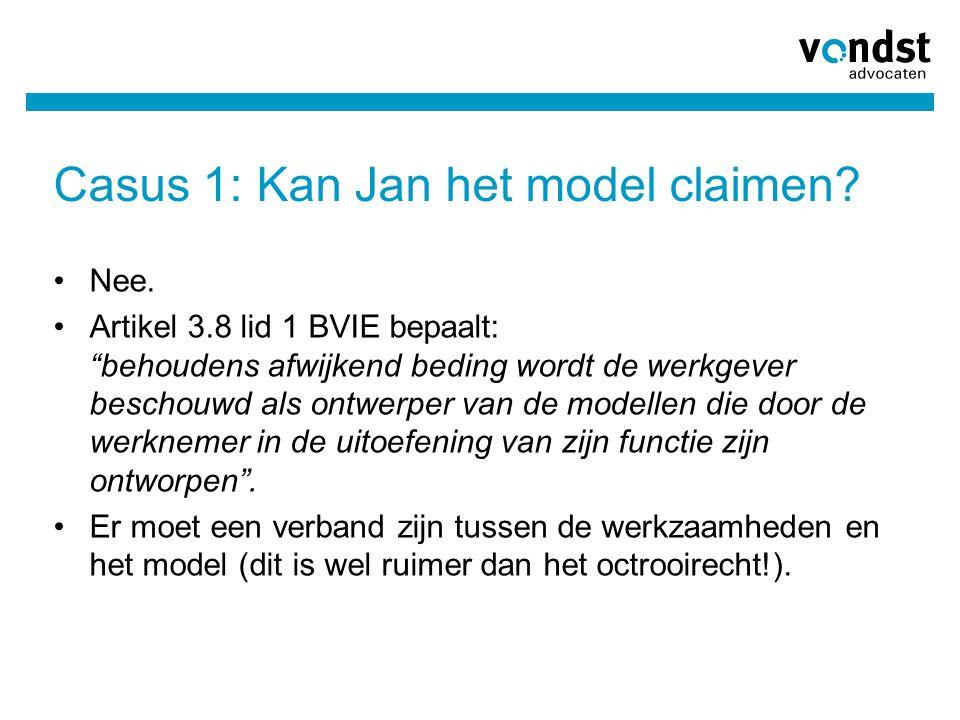 """Casus 1: Kan Jan het model claimen? Nee. Artikel 3.8 lid 1 BVIE bepaalt: """"behoudens afwijkend beding wordt de werkgever beschouwd als ontwerper van de"""