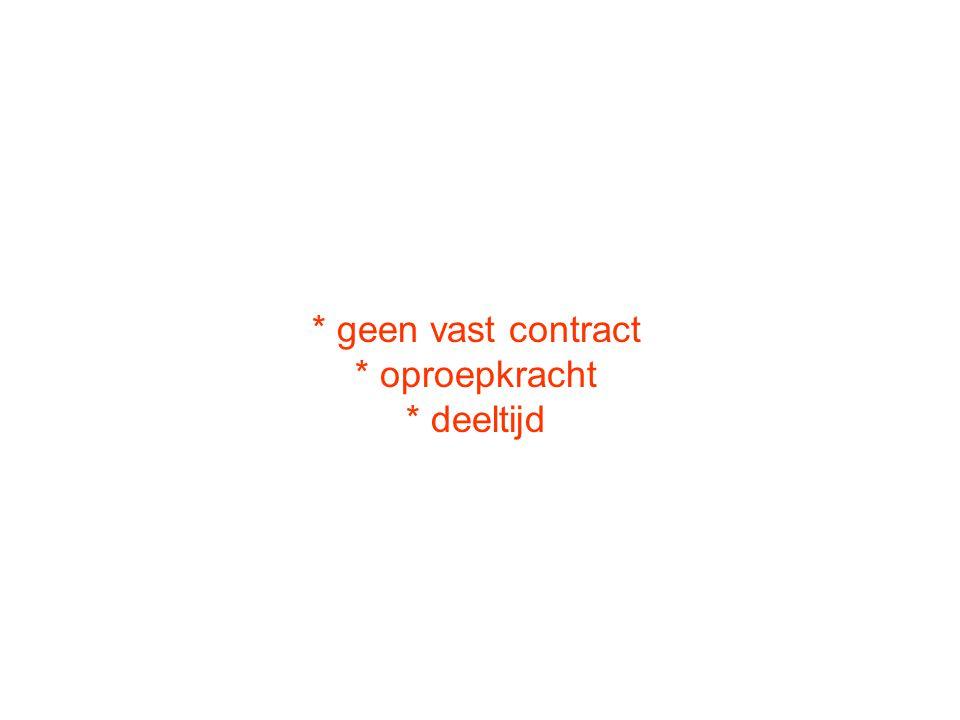 * geen vast contract * oproepkracht * deeltijd