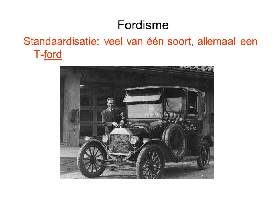 Fordisme Standaardisatie: veel van één soort, allemaal een T-ford