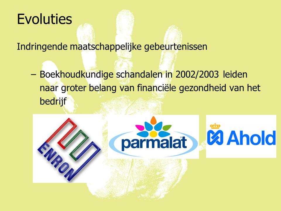 Evoluties Indringende maatschappelijke gebeurtenissen –Boekhoudkundige schandalen in 2002/2003 leiden naar groter belang van financiële gezondheid van het bedrijf