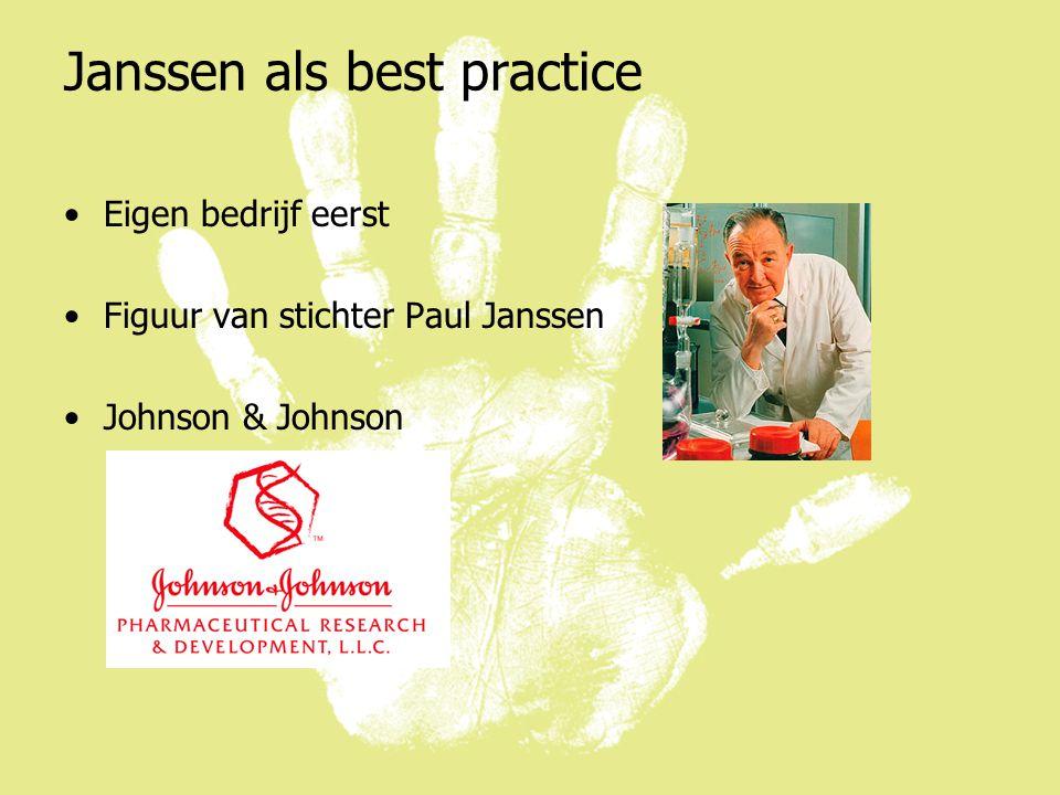 Janssen als best practice Eigen bedrijf eerst Figuur van stichter Paul Janssen Johnson & Johnson