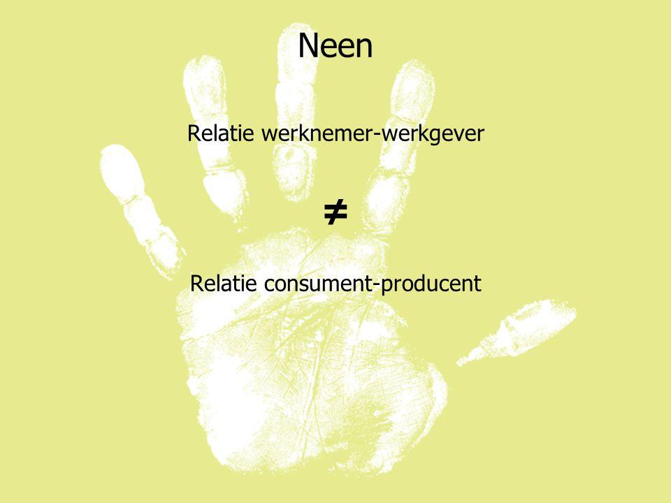 Neen Relatie werknemer-werkgever ≠ Relatie consument-producent