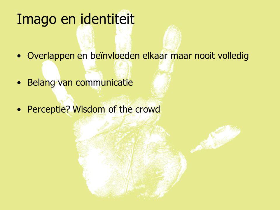 Imago en identiteit Overlappen en beïnvloeden elkaar maar nooit volledig Belang van communicatie Perceptie.