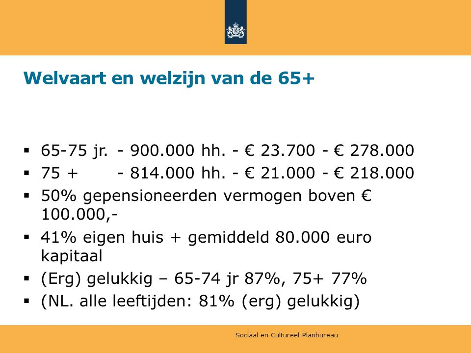 Welvaart en welzijn van de 65+  65-75 jr. - 900.000 hh. - € 23.700 - € 278.000  75 + - 814.000 hh. - € 21.000 - € 218.000  50% gepensioneerden verm