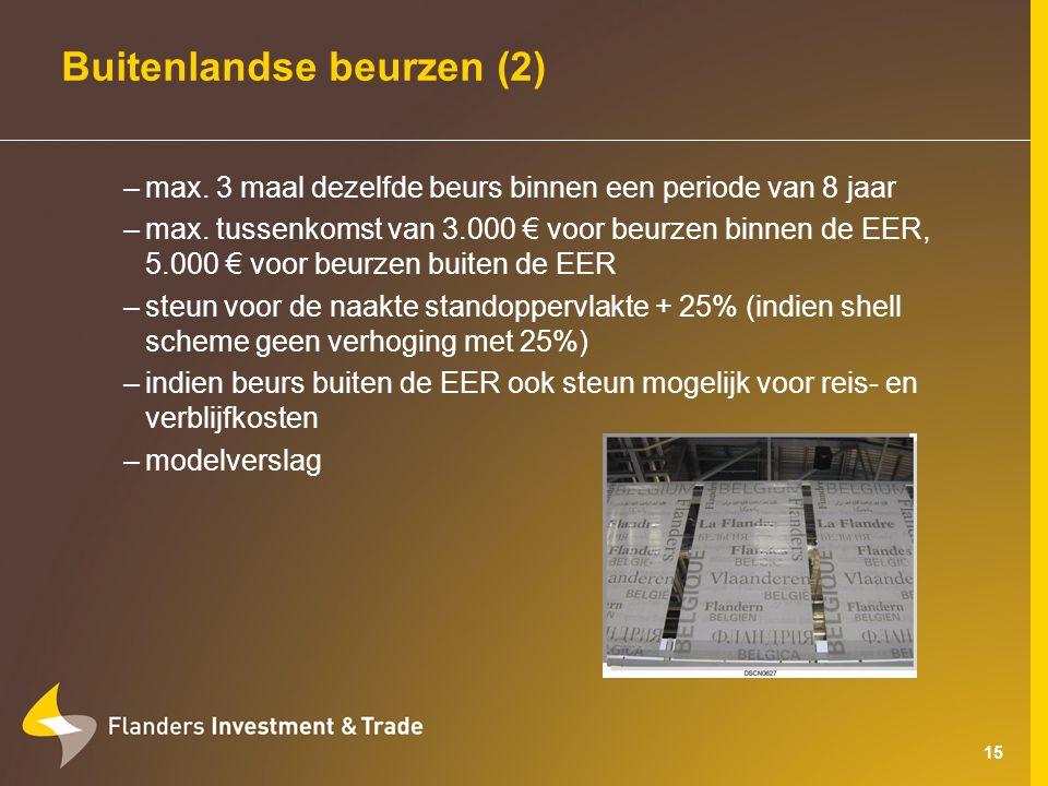 15 Buitenlandse beurzen (2) –max. 3 maal dezelfde beurs binnen een periode van 8 jaar –max.