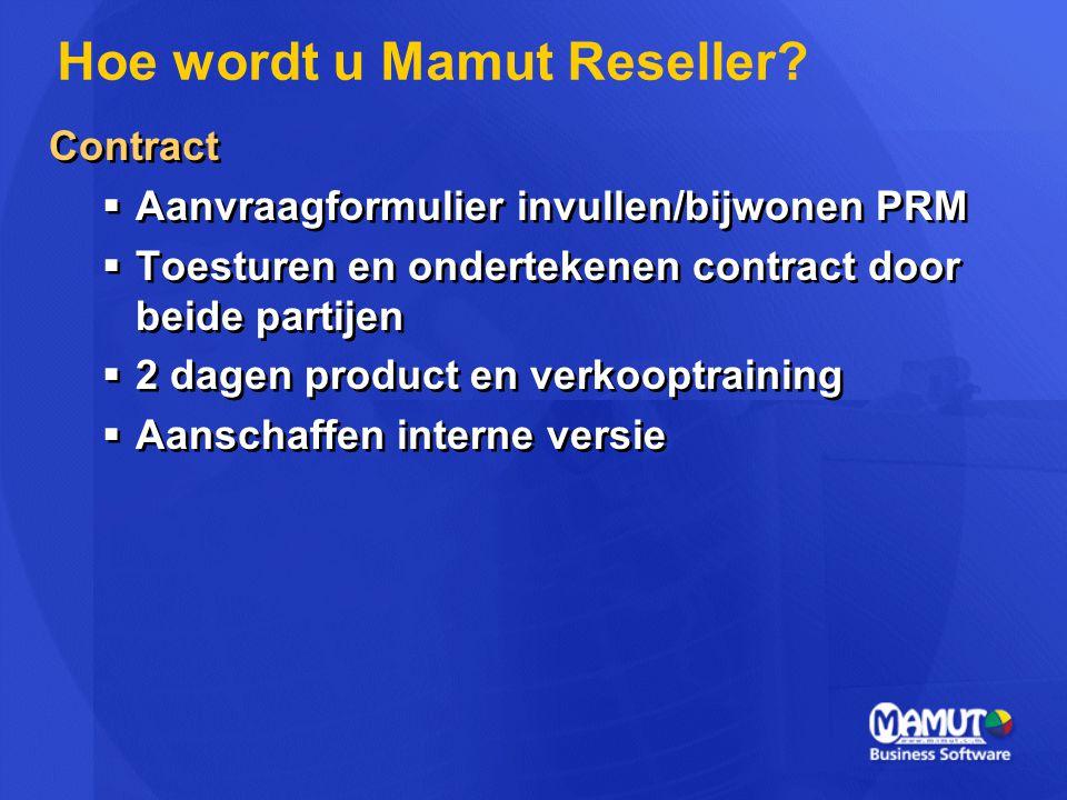 Contract  Aanvraagformulier invullen/bijwonen PRM  Toesturen en ondertekenen contract door beide partijen  2 dagen product en verkooptraining  Aan
