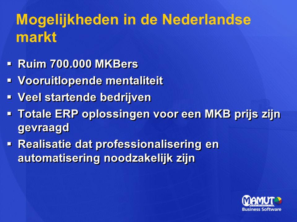  Ruim 700.000 MKBers  Vooruitlopende mentaliteit  Veel startende bedrijven  Totale ERP oplossingen voor een MKB prijs zijn gevraagd  Realisatie d