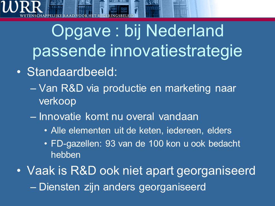 Opgave : bij Nederland passende innovatiestrategie Standaardbeeld: –Van R&D via productie en marketing naar verkoop –Innovatie komt nu overal vandaan Alle elementen uit de keten, iedereen, elders FD-gazellen: 93 van de 100 kon u ook bedacht hebben Vaak is R&D ook niet apart georganiseerd –Diensten zijn anders georganiseerd