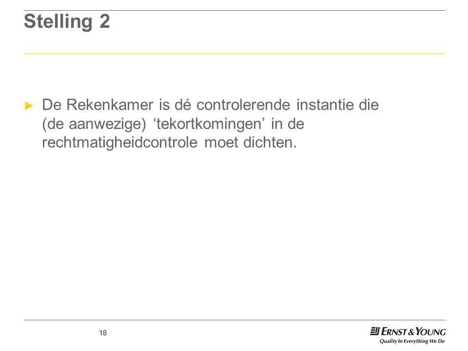 Stelling 2 ► De Rekenkamer is dé controlerende instantie die (de aanwezige) 'tekortkomingen' in de rechtmatigheidcontrole moet dichten. 18