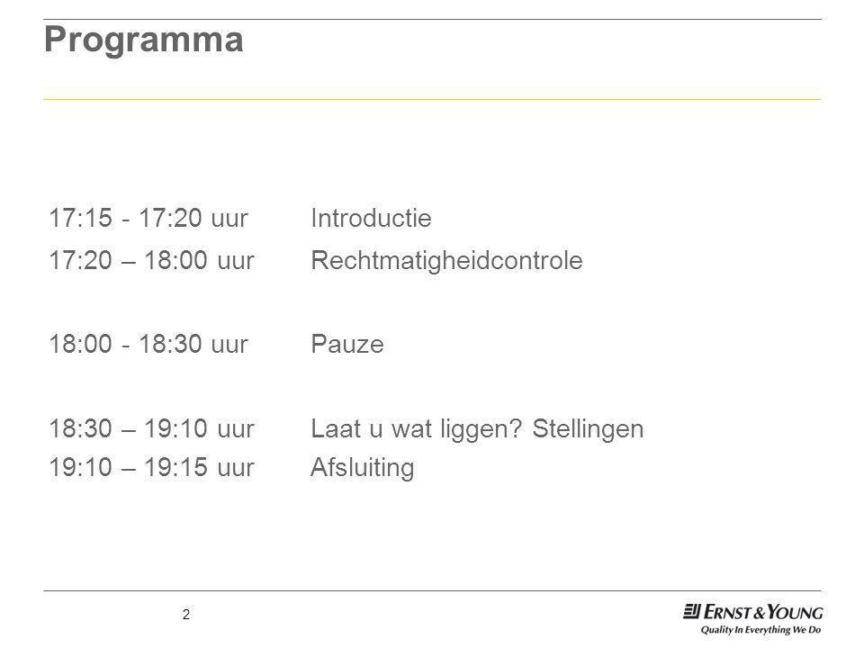 2 Programma 17:15 - 17:20 uurIntroductie 17:20 – 18:00 uurRechtmatigheidcontrole 18:00 - 18:30 uurPauze 18:30 – 19:10 uurLaat u wat liggen? Stellingen