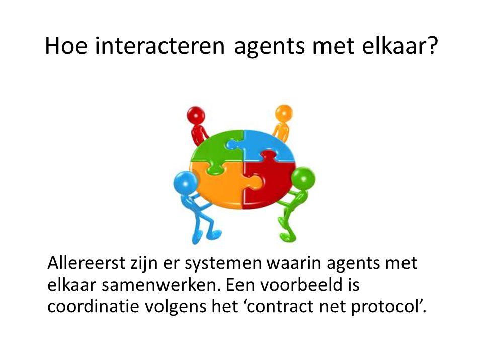 Hoe interacteren agents met elkaar.