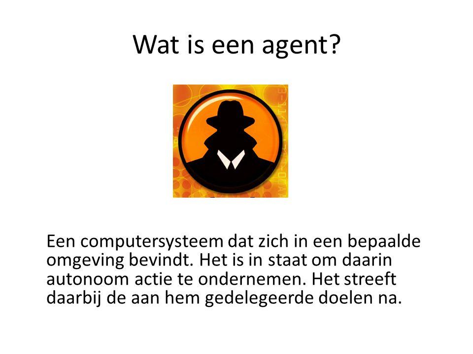 Wat is een agent. Een computersysteem dat zich in een bepaalde omgeving bevindt.