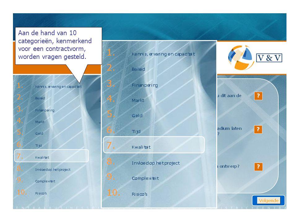 Aan de hand van 10 categorieën, kenmerkend voor een contractvorm, worden vragen gesteld.