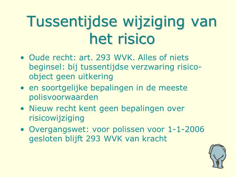 Tussentijdse wijziging van het risico Oude recht: art.