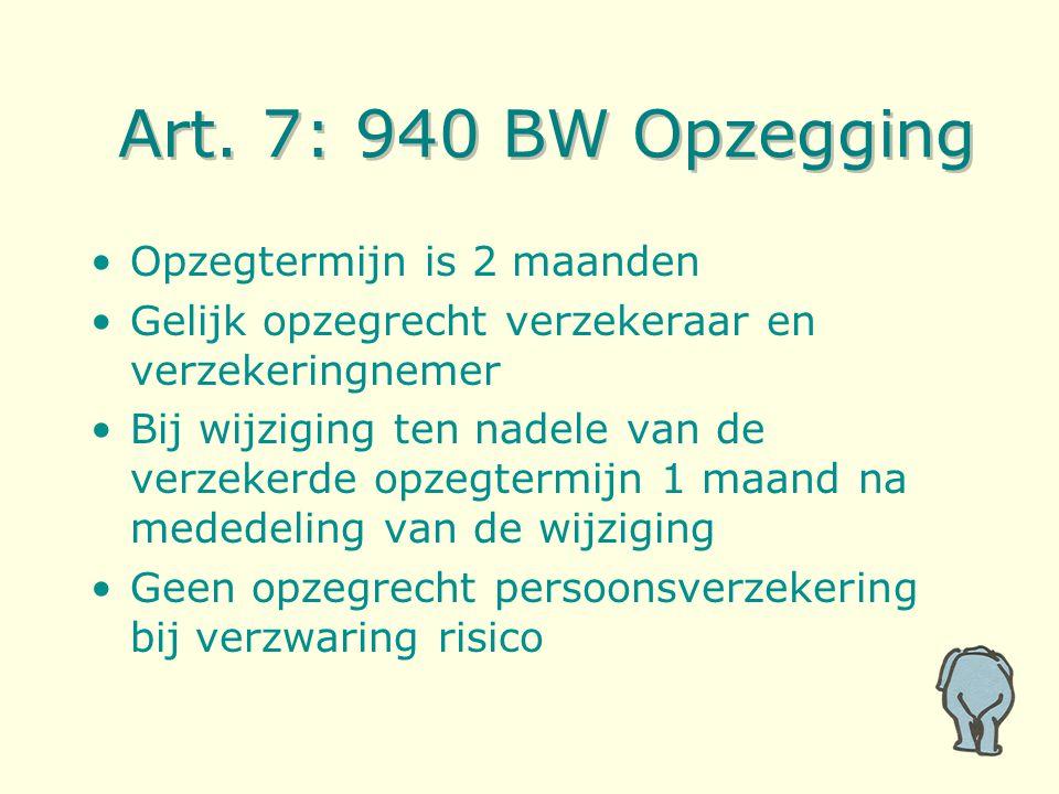 Art. 7: 940 BW Opzegging Opzegtermijn is 2 maanden Gelijk opzegrecht verzekeraar en verzekeringnemer Bij wijziging ten nadele van de verzekerde opzegt