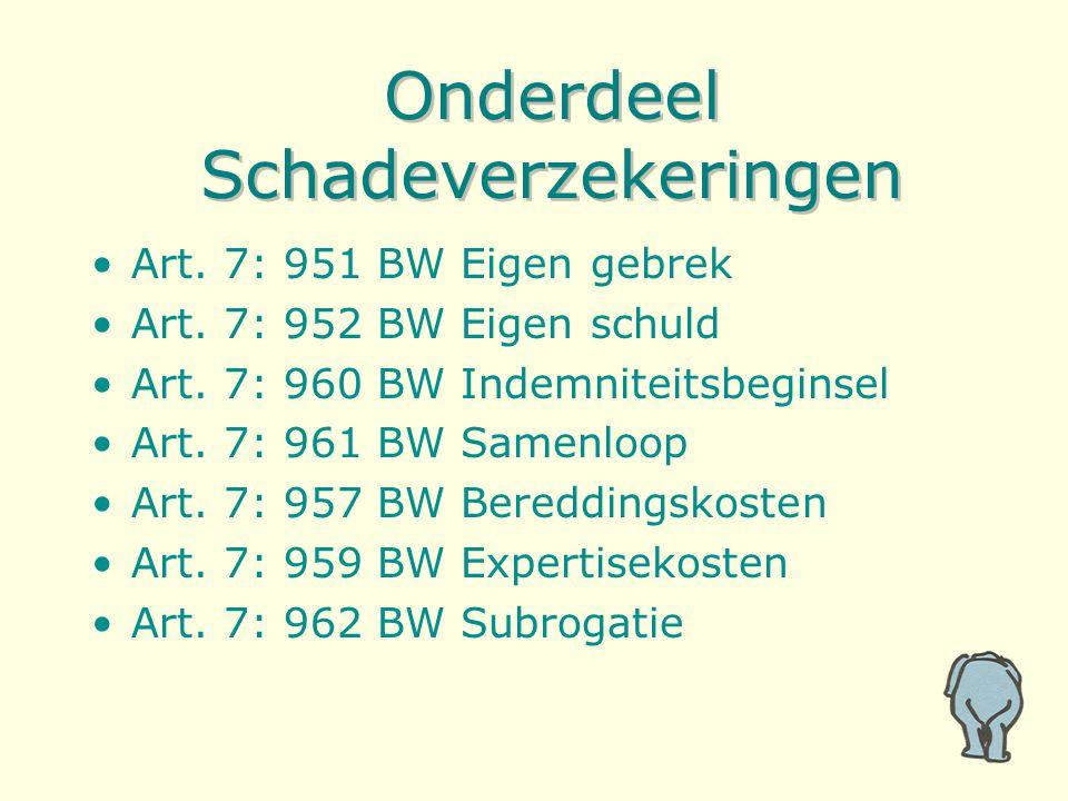 Onderdeel Schadeverzekeringen Art. 7: 951 BW Eigen gebrek Art.