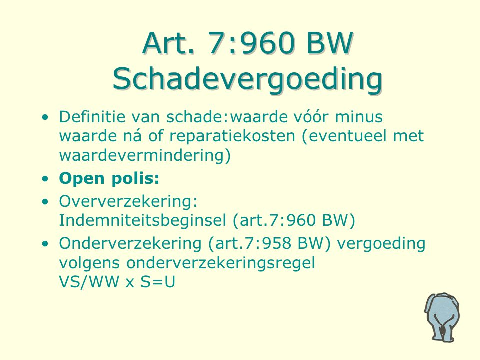 Art. 7:960 BW Schadevergoeding Definitie van schade:waarde vóór minus waarde ná of reparatiekosten (eventueel met waardevermindering) Open polis: Over