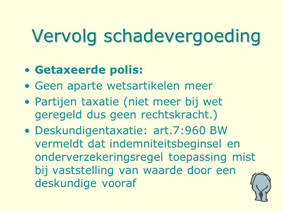 Vervolg schadevergoeding Getaxeerde polis: Geen aparte wetsartikelen meer Partijen taxatie (niet meer bij wet geregeld dus geen rechtskracht.) Deskund