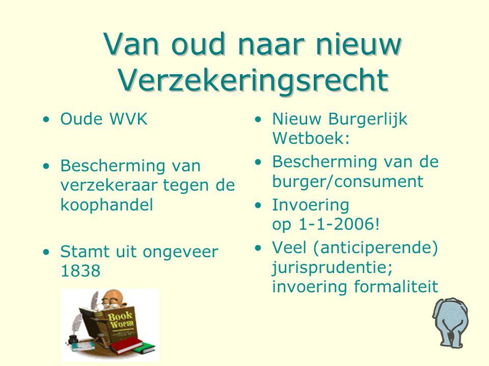 Van oud naar nieuw Verzekeringsrecht Oude WVK Bescherming van verzekeraar tegen de koophandel Stamt uit ongeveer 1838 Nieuw Burgerlijk Wetboek: Bescherming van de burger/consument Invoering op 1-1-2006.