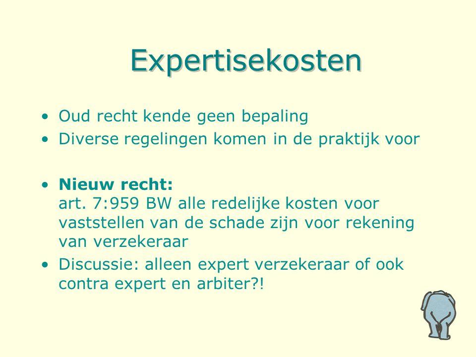 Expertisekosten Oud recht kende geen bepaling Diverse regelingen komen in de praktijk voor Nieuw recht: art. 7:959 BW alle redelijke kosten voor vasts