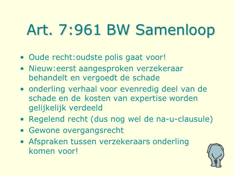Art. 7:961 BW Samenloop Oude recht:oudste polis gaat voor! Nieuw:eerst aangesproken verzekeraar behandelt en vergoedt de schade onderling verhaal voor