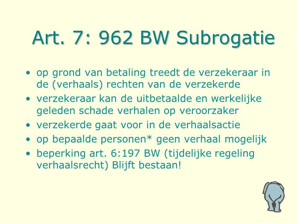 Art. 7: 962 BW Subrogatie op grond van betaling treedt de verzekeraar in de (verhaals) rechten van de verzekerde verzekeraar kan de uitbetaalde en wer