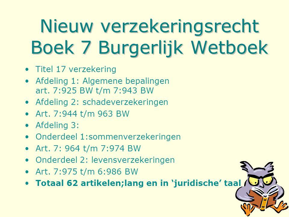 Nieuw verzekeringsrecht Boek 7 Burgerlijk Wetboek Titel 17 verzekering Afdeling 1: Algemene bepalingen art.