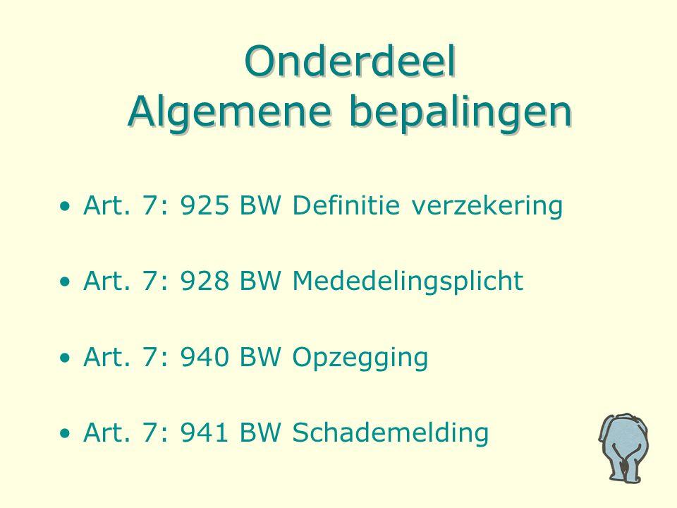 Onderdeel Algemene bepalingen Art. 7: 925 BW Definitie verzekering Art. 7: 928 BW Mededelingsplicht Art. 7: 940 BW Opzegging Art. 7: 941 BW Schademeld