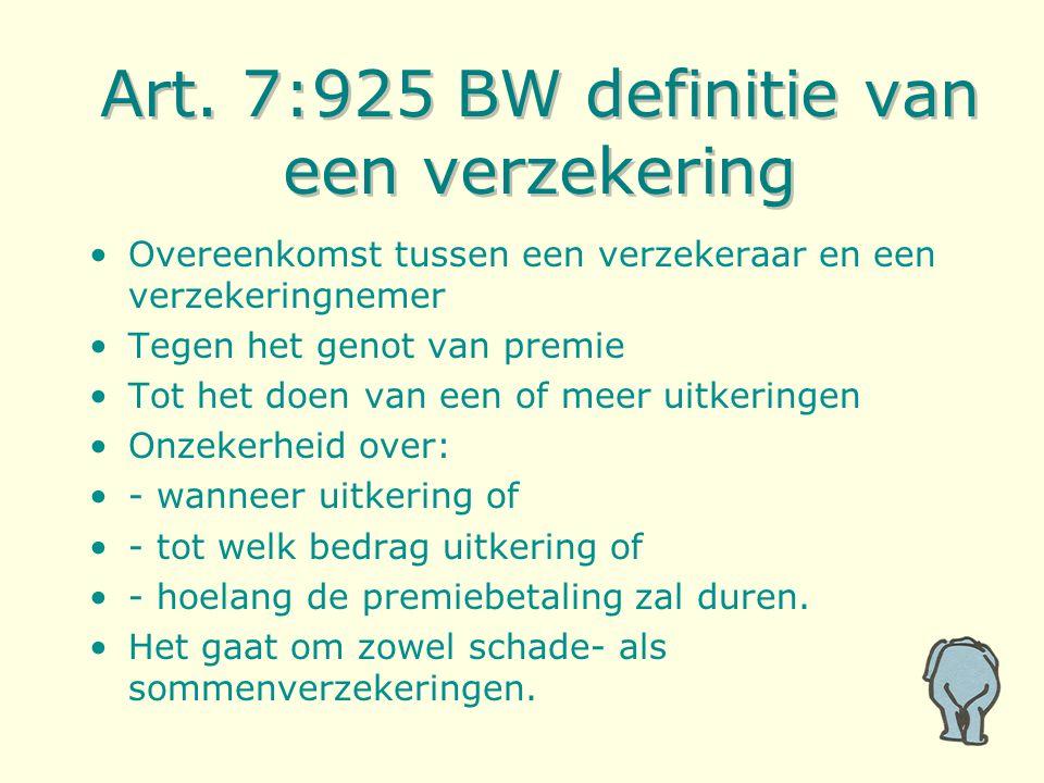 Art. 7:925 BW definitie van een verzekering Overeenkomst tussen een verzekeraar en een verzekeringnemer Tegen het genot van premie Tot het doen van ee