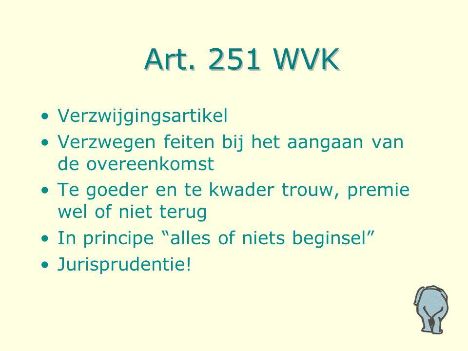 Art. 251 WVK Verzwijgingsartikel Verzwegen feiten bij het aangaan van de overeenkomst Te goeder en te kwader trouw, premie wel of niet terug In princi