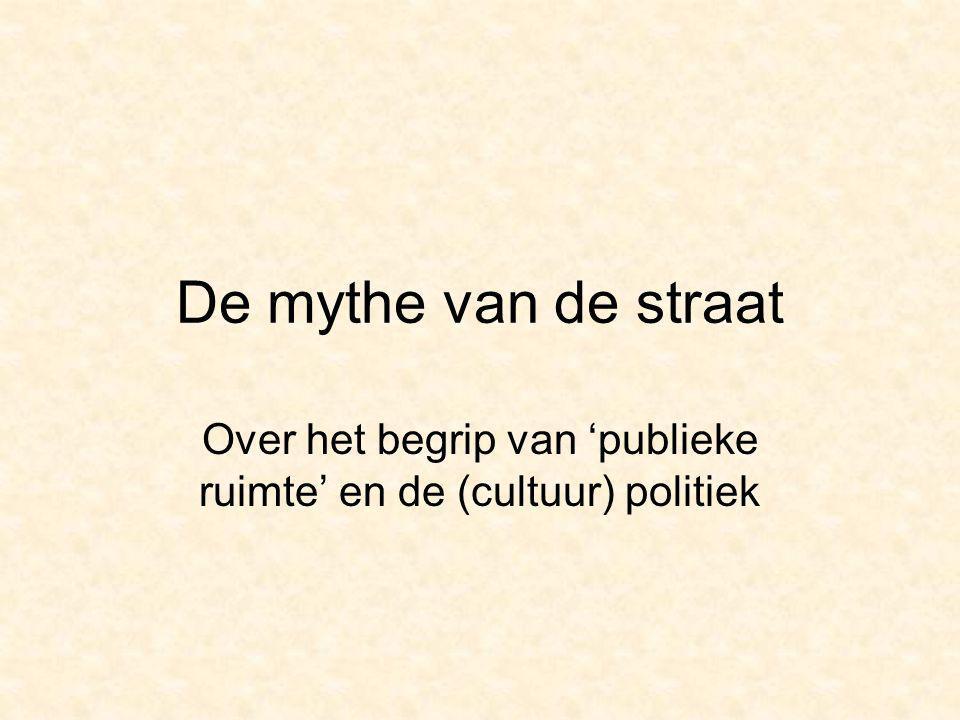 Verhaal van de opening van het Nederlands Vlaams cultuurhuis Vanzelfsprekendheden van : -de gelijkstelling van de publieke ruimte met de straat -de gedachte dat de informele ontmoeting de basisvorm is van de deelname aan het publieke leven