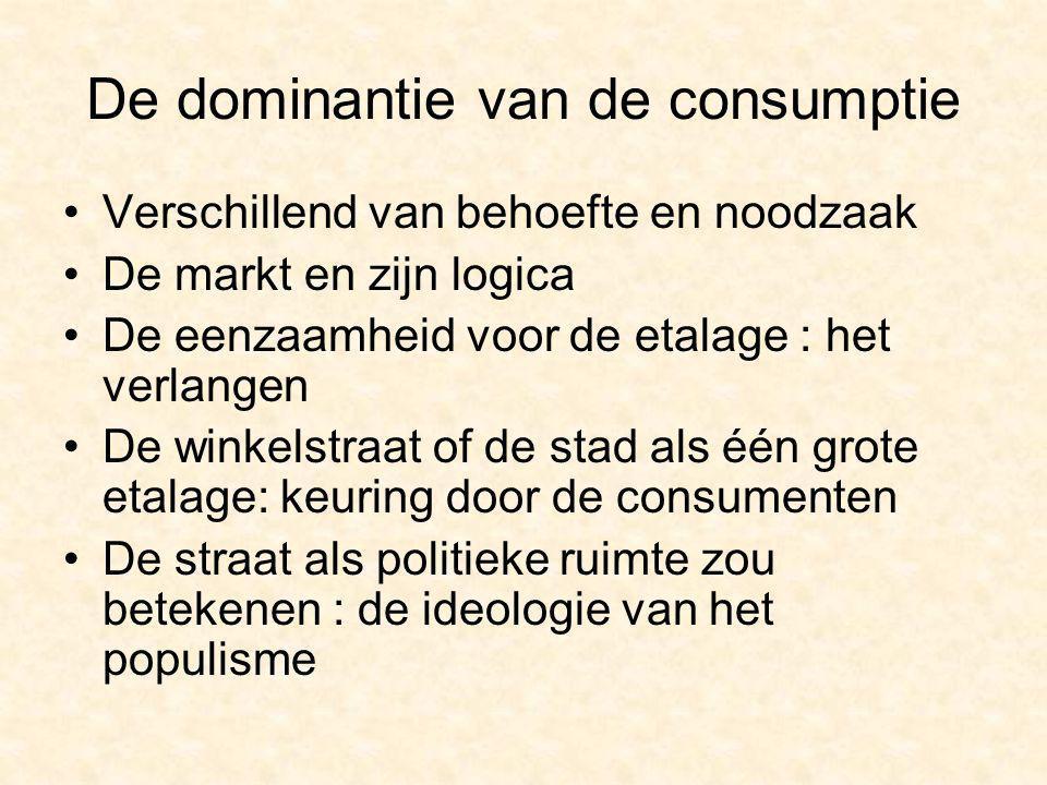 De dominantie van de consumptie Verschillend van behoefte en noodzaak De markt en zijn logica De eenzaamheid voor de etalage : het verlangen De winkelstraat of de stad als één grote etalage: keuring door de consumenten De straat als politieke ruimte zou betekenen : de ideologie van het populisme