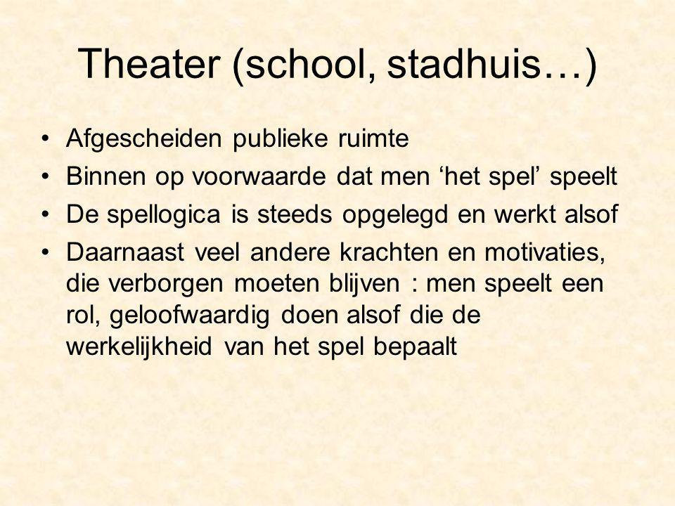 Theater (school, stadhuis…) Afgescheiden publieke ruimte Binnen op voorwaarde dat men 'het spel' speelt De spellogica is steeds opgelegd en werkt also