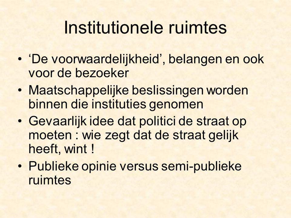 Institutionele ruimtes 'De voorwaardelijkheid', belangen en ook voor de bezoeker Maatschappelijke beslissingen worden binnen die instituties genomen G