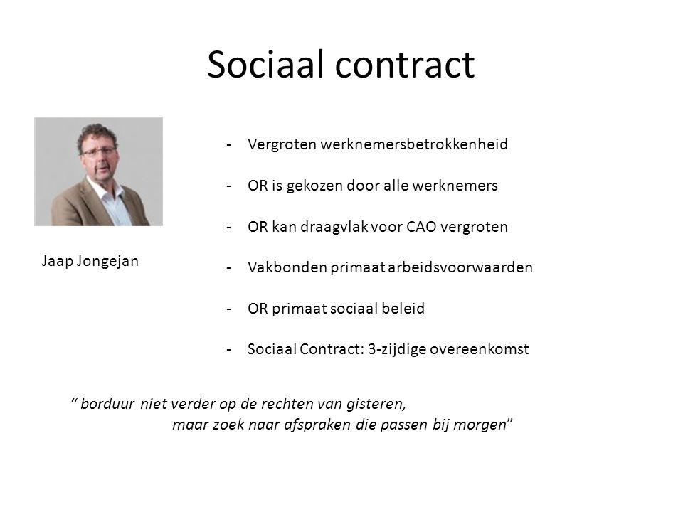Sociaal contract -Vergroten werknemersbetrokkenheid -OR is gekozen door alle werknemers -OR kan draagvlak voor CAO vergroten -Vakbonden primaat arbeid