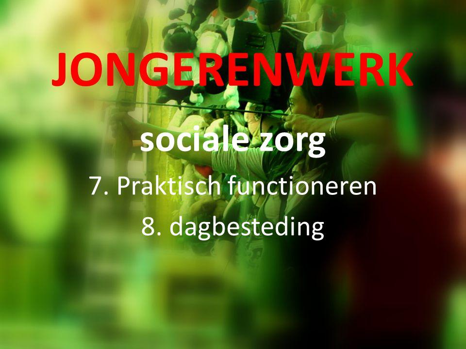 JONGERENWERK sociale zorg 7. Praktisch functioneren 8. dagbesteding