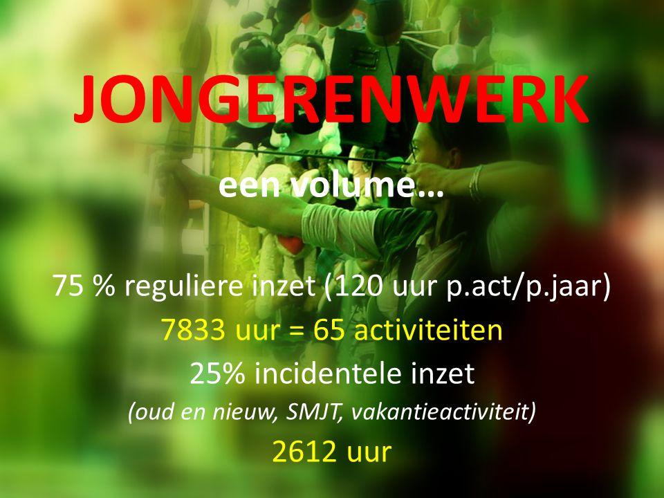 JONGERENWERK een volume… 75 % reguliere inzet (120 uur p.act/p.jaar) 7833 uur = 65 activiteiten 25% incidentele inzet (oud en nieuw, SMJT, vakantieact