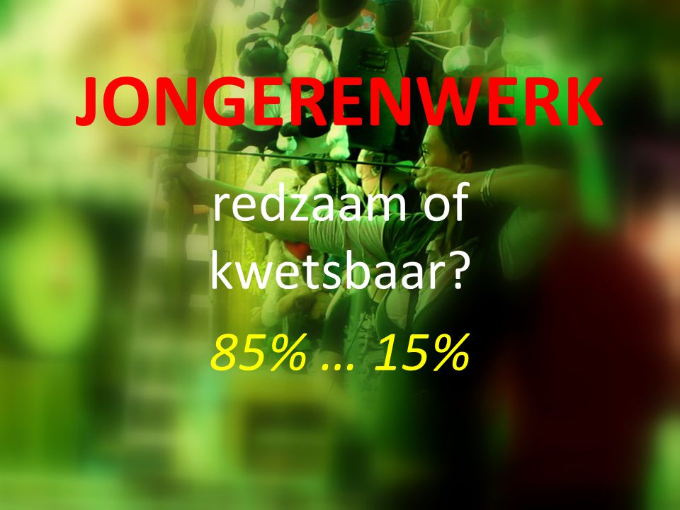 JONGERENWERK redzaam of kwetsbaar? 85% … 15%