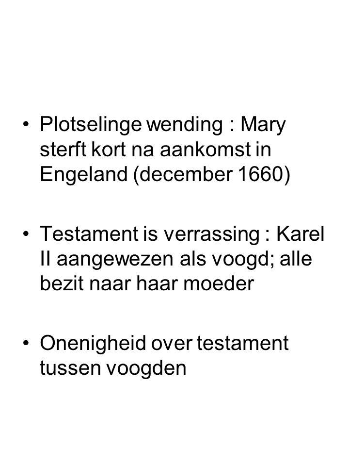 Plotselinge wending : Mary sterft kort na aankomst in Engeland (december 1660) Testament is verrassing : Karel II aangewezen als voogd; alle bezit naa