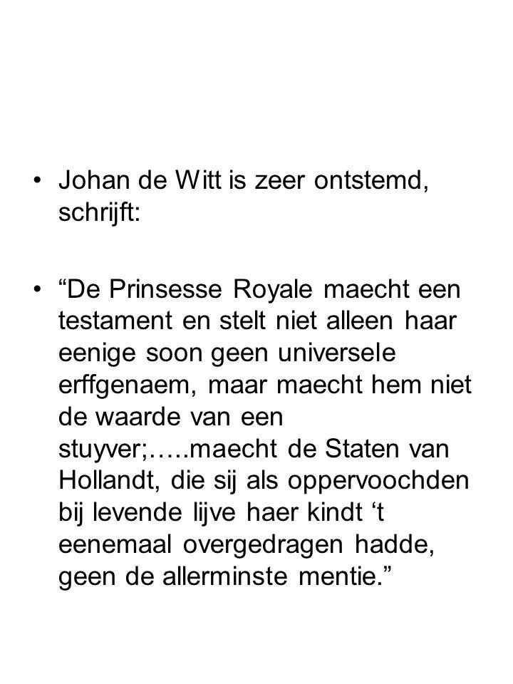 """Johan de Witt is zeer ontstemd, schrijft: """"De Prinsesse Royale maecht een testament en stelt niet alleen haar eenige soon geen universele erffgenaem,"""