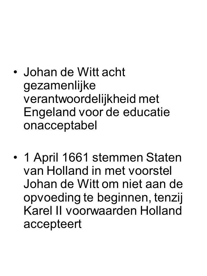 Johan de Witt acht gezamenlijke verantwoordelijkheid met Engeland voor de educatie onacceptabel 1 April 1661 stemmen Staten van Holland in met voorste