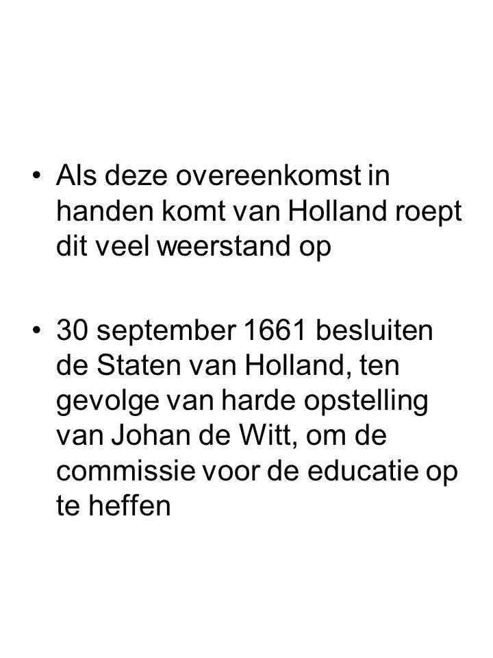 Als deze overeenkomst in handen komt van Holland roept dit veel weerstand op 30 september 1661 besluiten de Staten van Holland, ten gevolge van harde