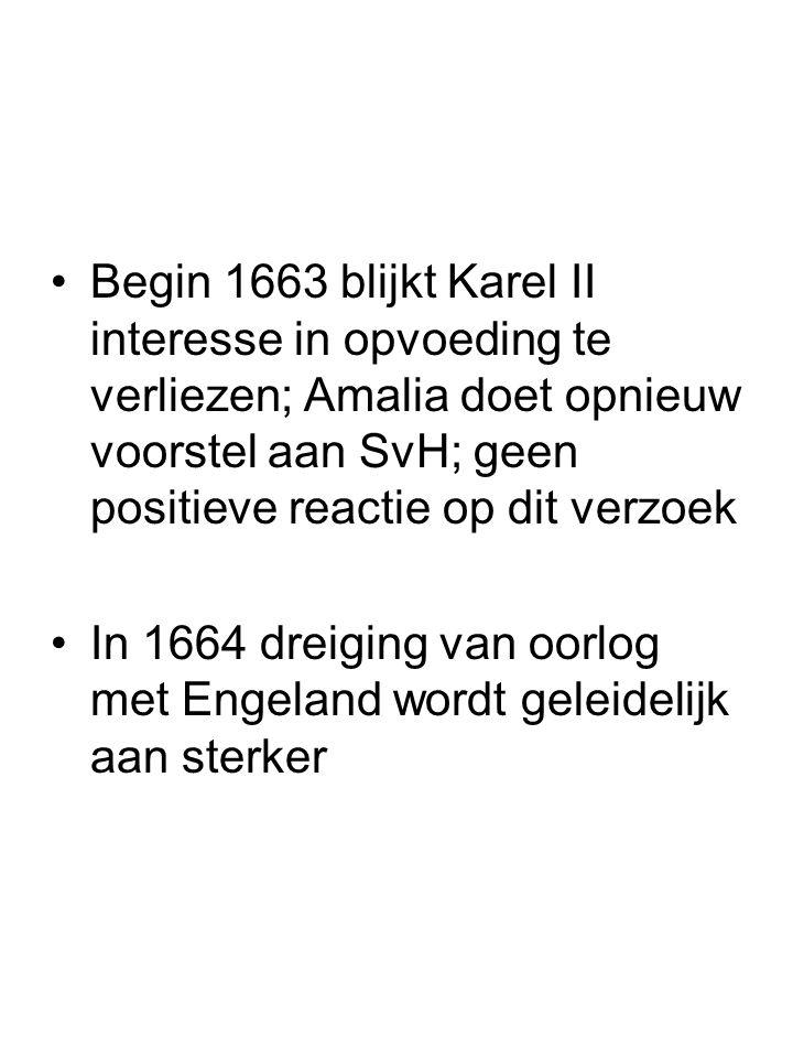 Begin 1663 blijkt Karel II interesse in opvoeding te verliezen; Amalia doet opnieuw voorstel aan SvH; geen positieve reactie op dit verzoek In 1664 dr