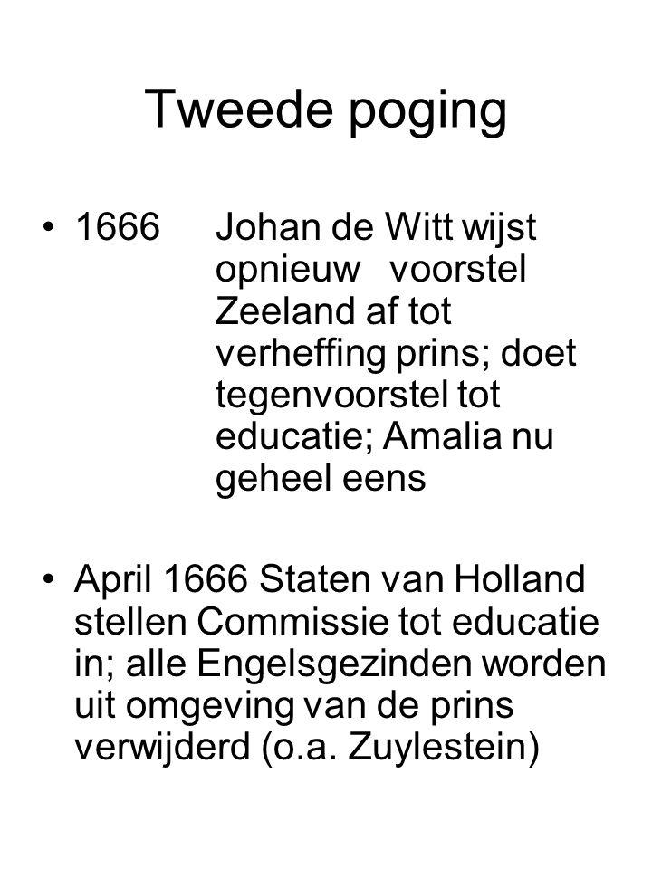 Tweede poging 1666Johan de Witt wijst opnieuw voorstel Zeeland af tot verheffing prins; doet tegenvoorstel tot educatie; Amalia nu geheel eens April 1