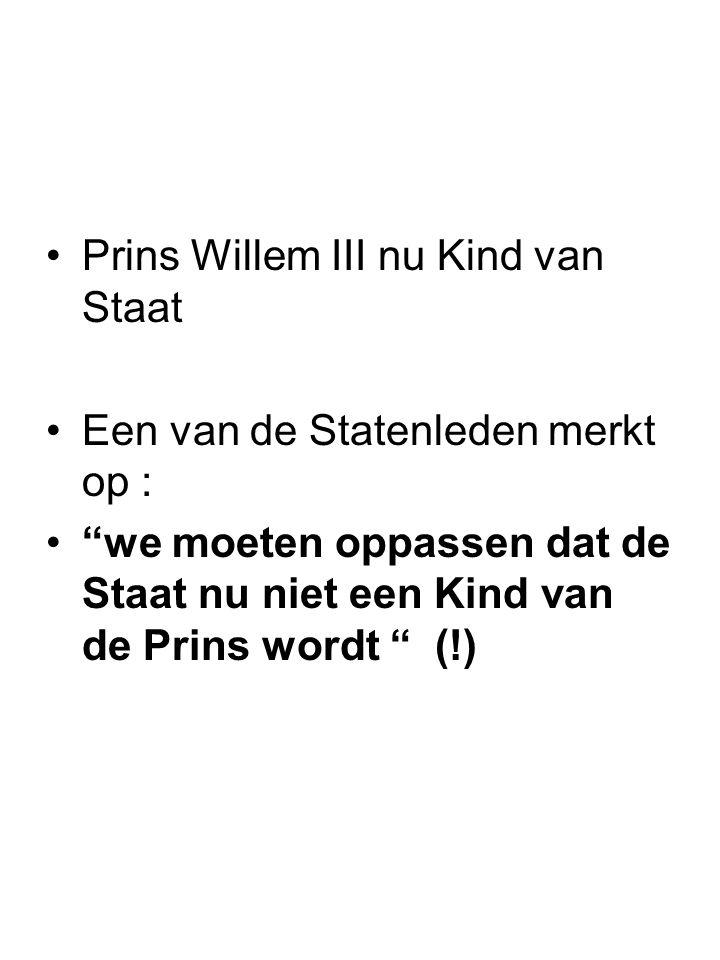 """Prins Willem III nu Kind van Staat Een van de Statenleden merkt op : """"we moeten oppassen dat de Staat nu niet een Kind van de Prins wordt """" (!)"""
